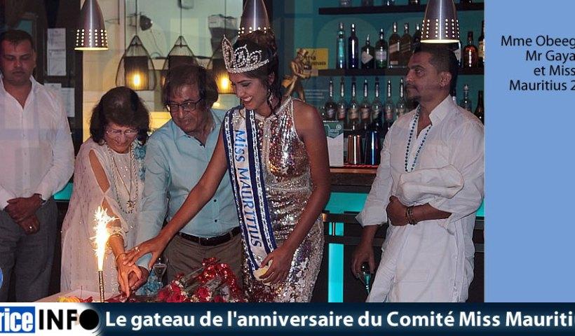 Le gâteau de l'anniversaire du Comité Miss Mauritius