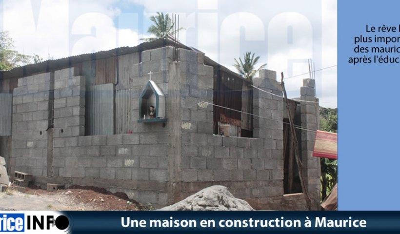 Une maison en construction à Maurice