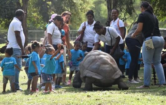 Les enfants lors de leur sortie au Casela World of Adventures.