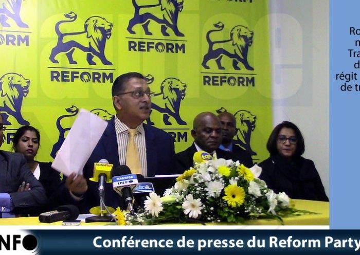 Conférence de presse du Reform Party du 20 Mai 2019