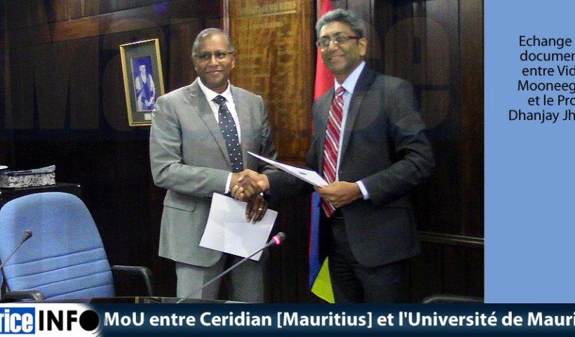 MoU entre Ceridian [Mauritius] et l'Université de Maurice