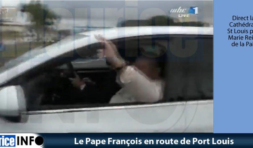 Le Pape François en route © Image MBC TV e Port Louis