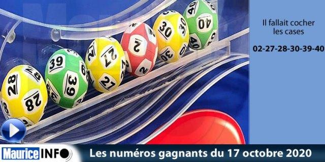 Les numéros gagnants du tirage du loto du 17 octobre 2020 sont : 02-27-28-30-39-40