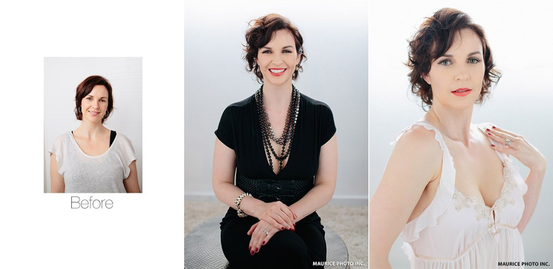 before after glamour portraits