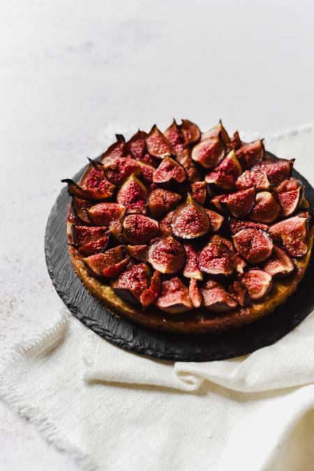 Tarte aux figues, pâte shortbread pistache