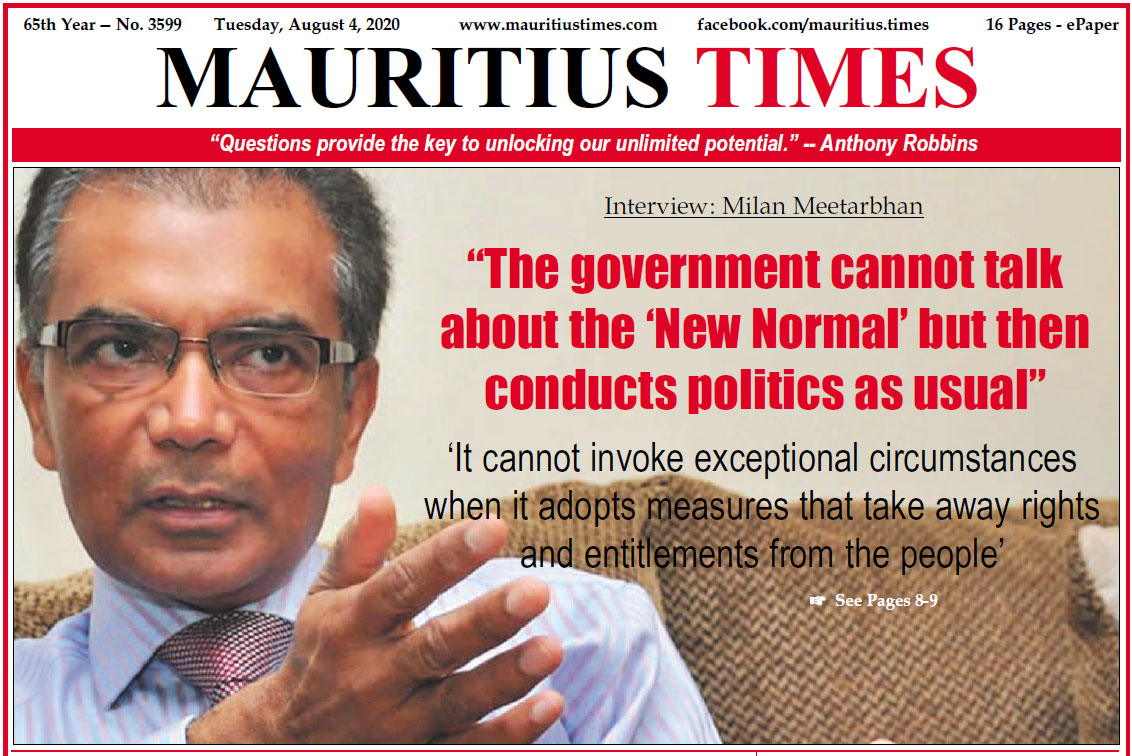 Download – Mauritius Times ePaper – Friday 4 August 2020