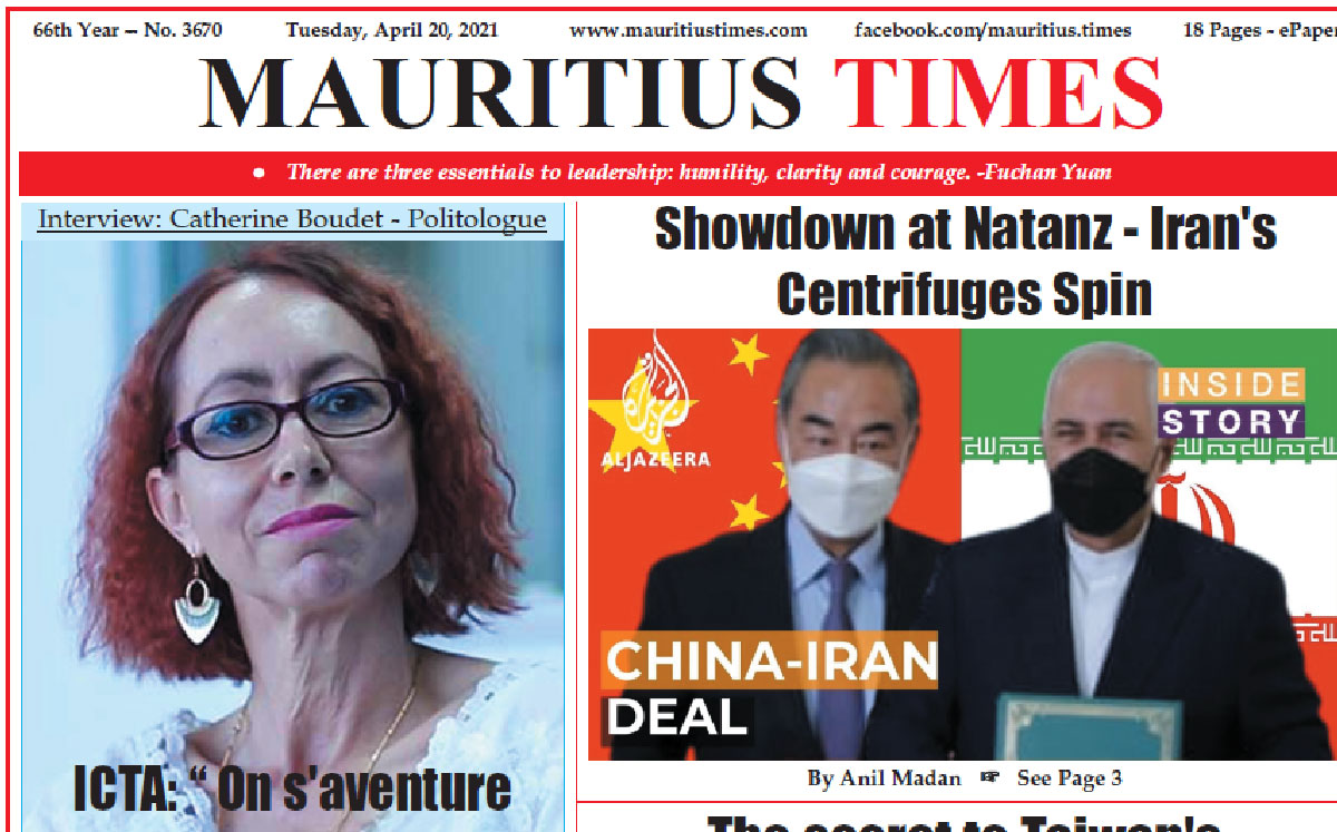 Free download — Mauritius Times ePaper — Tuesday 20 April 2021