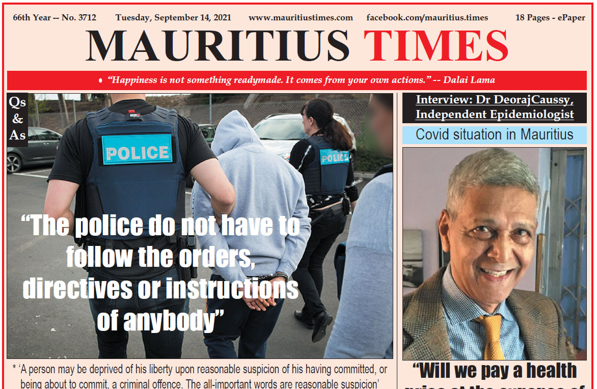Free download Mauritius Times ePaper Tuesday 14 September 2021