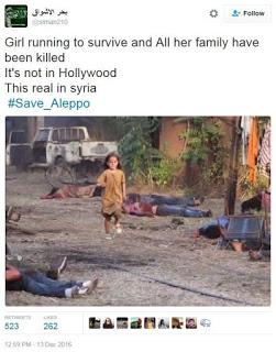 Fanciulla scappa da bombardamento russo in Siria?