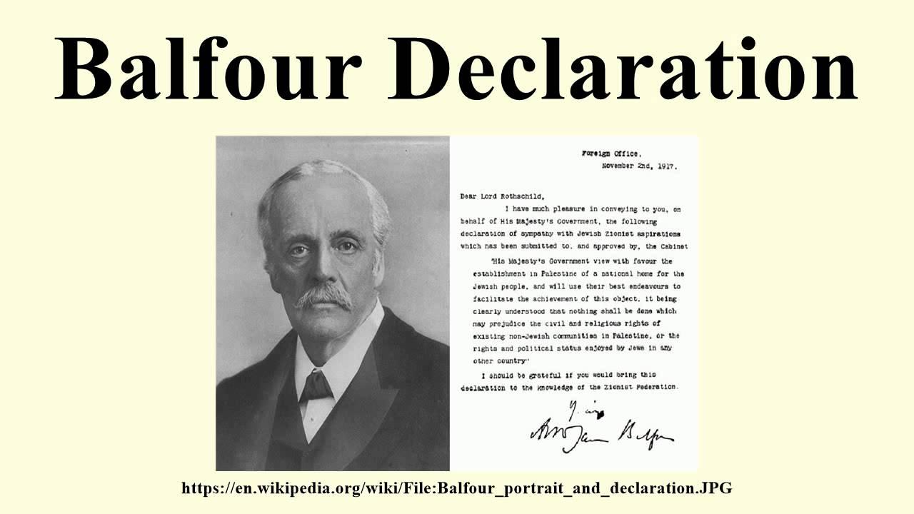La dichiarazione Balfour. Lord Balfour promise agli ebrei la Palestina. In cambio, gli ebrei portarono gli USA nella prima guerra mondiale.