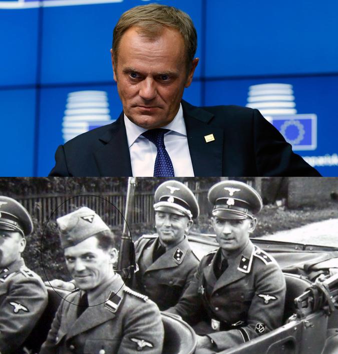 Il bisnonno di DonaldTusk, Joseph,si arruolò nelle SS. Molto somigliante al bisnipote europeista.