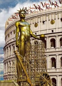 """""""Colossus Neronis"""", la colossale statua dorata con cui Nerone si fece ritrarre come dio solare."""
