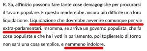 """""""Siamo nelle mani di Salvini"""", disse l'importante banchiere. """"Liquidarlo non sarà indolore"""""""