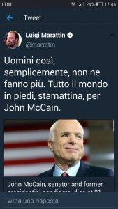 ELOGIO FUNEBRE DI McCAIN.  DA PARTE DELLA NOSTRA NOMENKLATURA