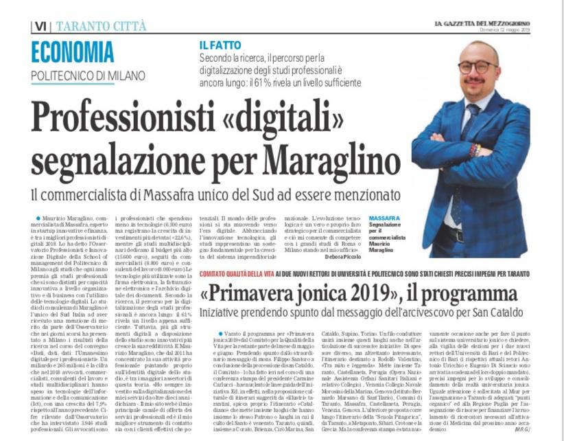 Lo Studio Maraglino tra i migliori studi digitali del 2018 secondo l'Osservatorio professionisti del Politecnico di Milano