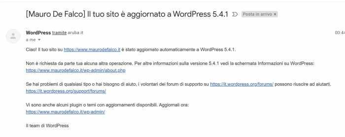 email aggiornamento automatico