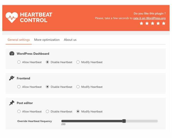 settare il controllo di Heartbeat control