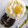 Ovo frito com batata, morcilla e pão Restaurante La Tomate Chef: Jefferson Rueda