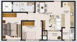 Apartamento Rua Maranhão - 2 quartos - Bairro Alto Alegre - Cascavel - ap tipo 1