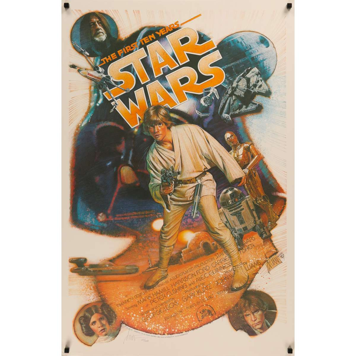 star wars a new hope us signed poster killian 29x41 1987 george lucas rare