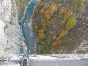 Looking down the bridge on Tara river