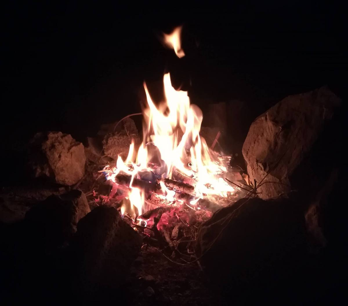 First camp fire