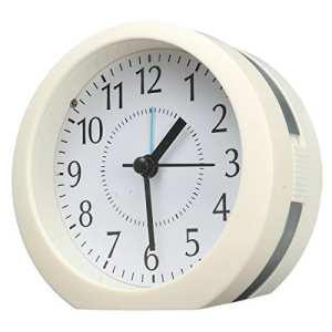 Audew Réveil Silencieux Horloge L'alarme de Musique Ronde à Batterie en Plastique,Réveil de Voyage, Lumière de Nuit Argent