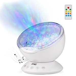 GoLine Lampe de Projecteur Ocean Wave, avec Lecteur de Musique Intégré, 4 Sons et 7 Modes Lumière de Nuit pour Enfants, Télécommande, Minuterie 1/2/4 Heures, Fente TF, Entrée Aux 3,5 mm (NL020-WE)