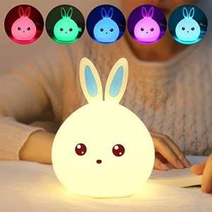 IPUIS Mignon Lapin LED Veilleuse Lampe de Nuit Lampe de Chevet 7 Couleur Changement Tactile Touch Sensor USB Rechargeable Lumière d'ambiance Déco pour Adultes Chambre Bébé Chambre à Coucher, Nursery (Mignon Lapin)