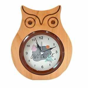 ISABELLE la nature non tic – tac – hibou réveil chevet matin horloge (burlywood) silencieux silent réveil Motif Aléatoire
