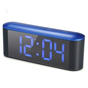 Horloge de table réveil numérique pour chambre salon de bureau, compteur ménage LED horloge miroir électronique, LED compteur de température et d'humidité miroir réveil – mot bleu