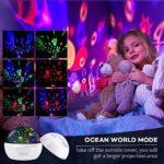 JEANMISS Lumière De Nuit pour Enfants, Projecteur De Lumière De Nuit Étoilée Rotative À 360 ° pour Bébé, Projecteur De Vagues Océaniques pour Décoration De Chambre d'enfants,Blanc