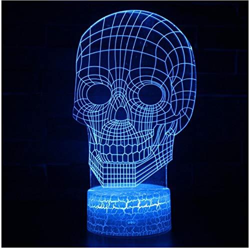 Crack Base squelette lampe 3d Led Usb crâne créatif 3d veilleuse 7 changement de couleur acrylique interrupteur tactile chambre lampe de bureau