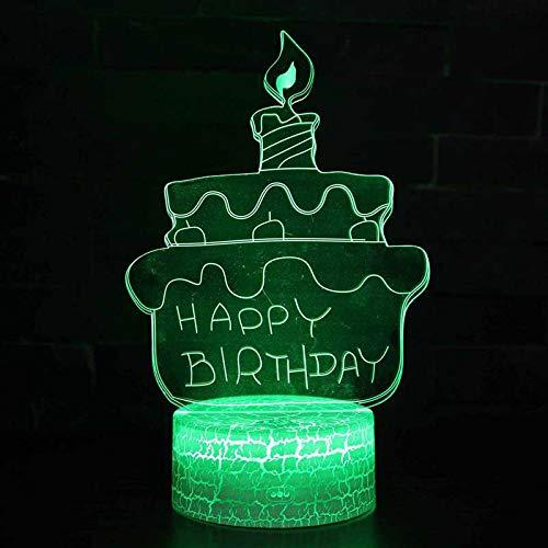 3D Lampe Illusion Nuit Lumière Gâteau D'Anniversaire Led Veilleuse, 16 Couleurstactile Lampe De Chevet Chambre Art Déco Enfant Lumière De Nuit Avec Câble Usb De Noël Cadeau D'Anniversaire