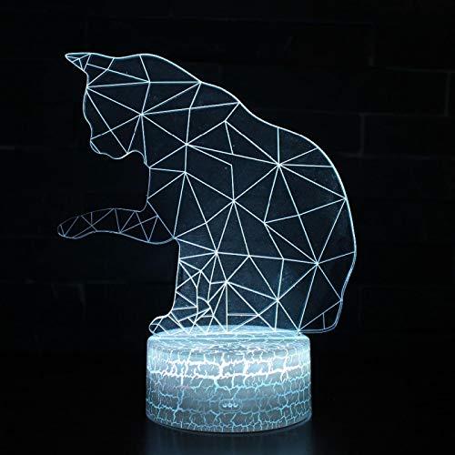 3D Lampe Illusion Optique Led Chat Animal Abstrait Veilleuse, 16 Couleurs Tactile Lampe De Chevet Chambre Déco Enfant Lumière De Nuit Avec Câble Usb De Noël Cadeau D'Anniversaire