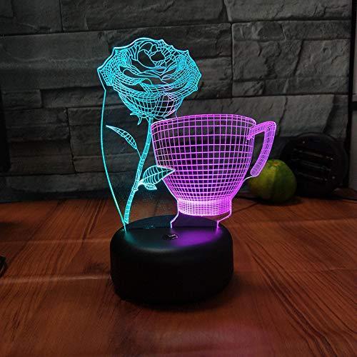 Coloré Romantique Rose Fleur Coupe LED Lampe 3D 7 Couleur Changé USB LED Veilleuses pour Éclairage De Décoration De Chambre De Noce