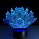Lotus Rose persil sauge romarin et thym lampe 3D 7 couleurs LED veilleuses pour enfants tactile LED Usb lampe de table veilleuse sans contrôleur