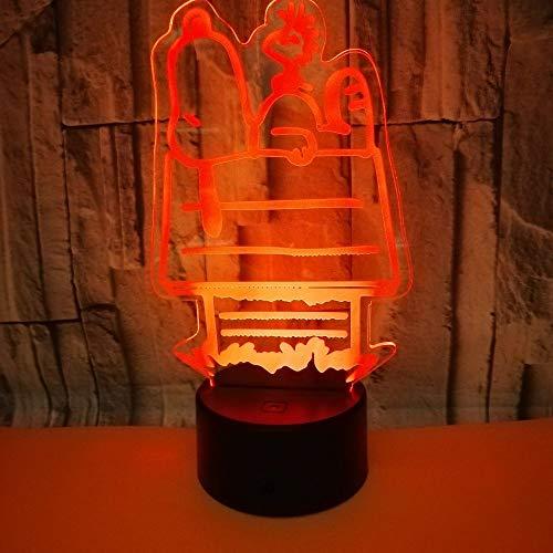 Mignon chien 3D veilleuse LED 3D Animal tactile lampe de Table 7 changement de couleur sommeil éclairage maison fête décor chien amoureux cadeau livraison directe