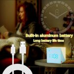 Réveil Enfant, Réveil Numérique Cube avec 7 Couleurs de Veilleuse LED, Affichage Temps/Date/Température Snooze Lampe de Réveil Horloge de Réveil Chevet pour Enfants, Étudiant, Fille, Garcons