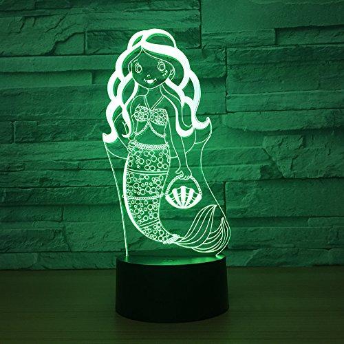 sirène colorée tactile 3D veilleuse LED vision stéréo veilleuse cadeau lampe de table
