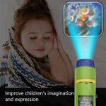 SUNNFLOOWER Jouets pour Enfants projecteur de Torche, Mini Dinosaure 24 Photos Histoire diaporama Lampe de Poche veilleuse Jouet éducatif au Coucher, Grand Cadeau pour 3 Ans + (Espace)