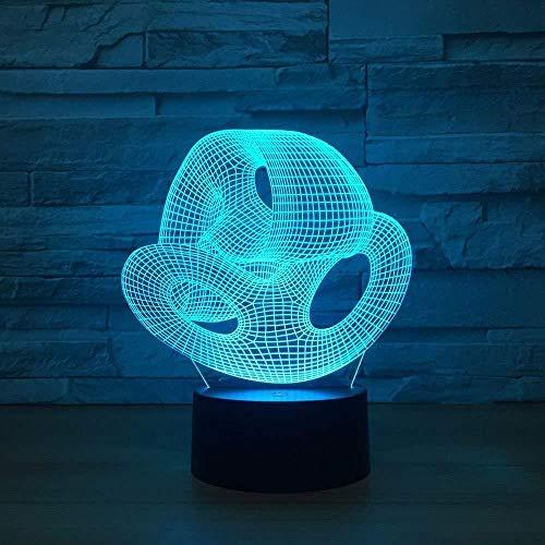 Veilleuse 3D Dinosaure Lampe 3D Veilleuse Lampe de Table 3D Led 7 Couleurs Changement Abstrait Nuit Nid Lumières Nouveauté Bébé Sommeil Éclairage Décor À La Maison USB Luminaire Fête Cadeaux avec