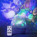 ZINE Projecteur Rechargeable d'étoile légère de Nuit avec 6 Films, Lampe de Table à LED réglable colorée de Rotation de 360° pour la pépinière de bébé de décoration de Chambre à Coucher d'Enfants