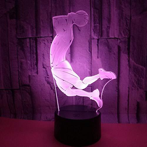 HXFGL Veilleuses 3D Joueur de basket slam dunk 7 couleur veilleuse LED tactile lampe de table salon décoration cadeau exquis