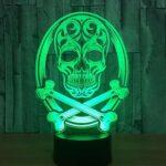 3D veilleuse couleur changeante lampe Halloween tête de mort lampe 3d illusion holographique lampe de table-Crâne 11_7 couleurs sans télécommande