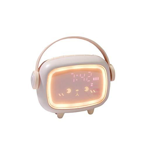 IHACON Réveil des Enfants numériques, réveil Mignon, Volume de Musique réglable, minuterie Multifonction, Compte à rebours de la lumière de Nuit, Tondeuse Snooze Clock Rechargeable