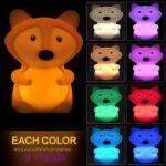 Renard Veilleuse pour enfants, veilleuse en silicone, lampe de chevet télécommandée rechargeable 9 couleurs pour enfants en bas âge/garçons/filles/chambre à coucher/salle de bain/extérieur – moyen