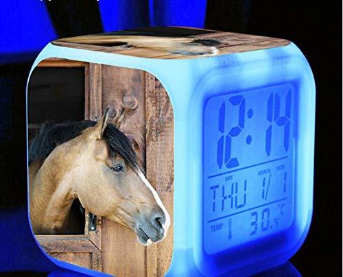 shiyueNB 7 Couleurs changeantes Lumineux numérique Horloge Cheval LED réveil Enfants Festival Cadeau Multifonction Bureau Montres électroniques Horloge Gris