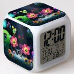 shiyueNB Film réveil Jouet réveil pour Enfants Dessin animé Couleur Changeante veilleuse LED Horloge numérique Horloge de Bureau électronique Violet