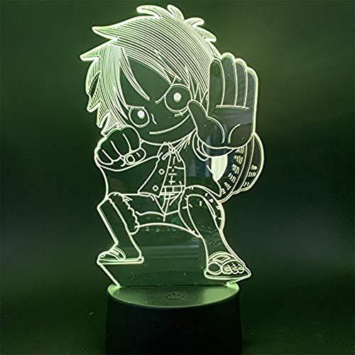 Veilleuse Couleur Télécommande 3D Capteur tactile de lampe 3D One-Piece Q-version Singe D Luffy Effet de lumière Visuelle coloré avec Lampe de Nuit à Distance Crack avec télécommande Luffy
